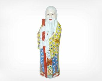 Vintage Chinese Porcelain Figurines  Shou Lao Famille Rose Porcelain God of Longevity Porcelain Immortal 18'' Very Good Condition Laozi