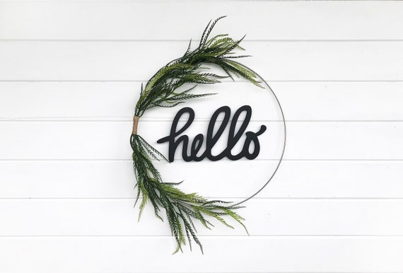 Modern Minimalist Hello Wreath