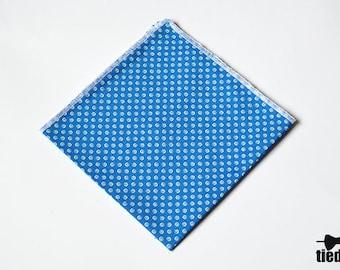 Light blue Handmade pocket square, Cotton blue pocket square with white circle  for men, Wedding pocket square, Men's Handkerchief