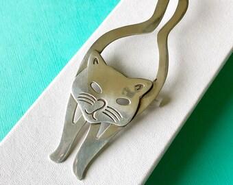 Tall Sterling Silver Cat Brooch