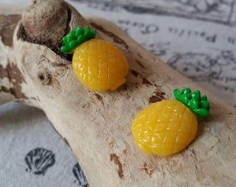 Cabochon resin pineapple fruit scrapbooking 15x23mm