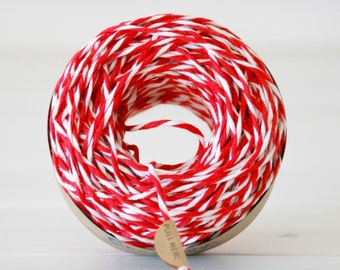 Chunky Cotton Twine - Super Thick Bakers Twine - 100% Cotton Twine Red & White - 50 yards Ball - 16ply  Twine - Final Sale