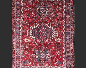Persian Rug Heriz antique 5.1 x 3.8 ft ft / 151 x 115 cm vintage red pink blue carpet Karaja  5 x 4 ft slightly worn distressed