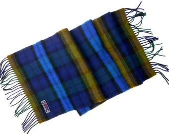 Tartan wool scarf, Hemley scarf, plaid lambswool scarf, men's wool scarf, long wool scarf, fringe scarf
