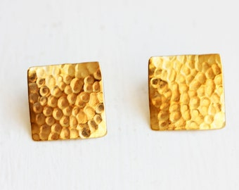 Hammered Square Earrings, Square Earrings, Hammered Studs, Square Studs, Texture Studs