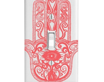 Light Switch Cover - Pink Hamsa Henna single dual rocker outlet covers