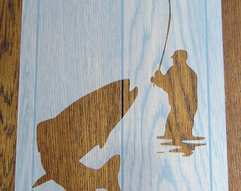 Gone Fishing Stencil Reusable Sheet for Arts & Crafts, DIY