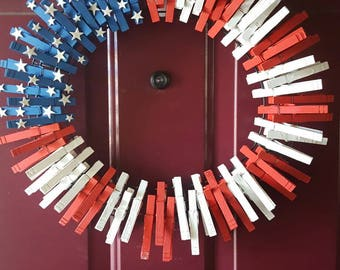 United States flag wreath, red white and blue, flag decor, holiday wreath