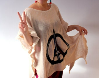 Handmade Nuno Felted Wool Cream Ecru Oversized Tunic Wearable Art
