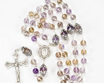 Ametrine Rosary for Catholic Women - Handmade Gift, Sterling Silver, Miraculous, Ornate Crucifix - Custom Amethyst Citrine Heirloom Rosaries