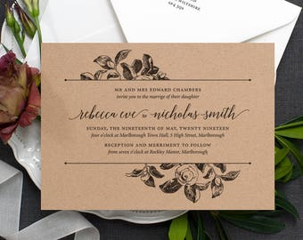 Rustic Recycled Wedding Invitation / 'Vintage Rose' Botanical Modern Calligraphy Elegant Invite  / Kraft Manilla Brown Card / ONE SAMPLE