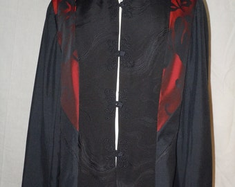 Black one of a kind silk jacket from vintage kimono, with red highlights, size large #F8