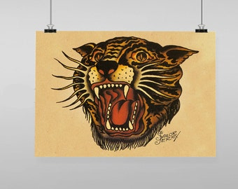 Tiger Tattoo Sailor Jerry  - Vintage Reproduction Wall Art Decro Decor Poster Print Any size