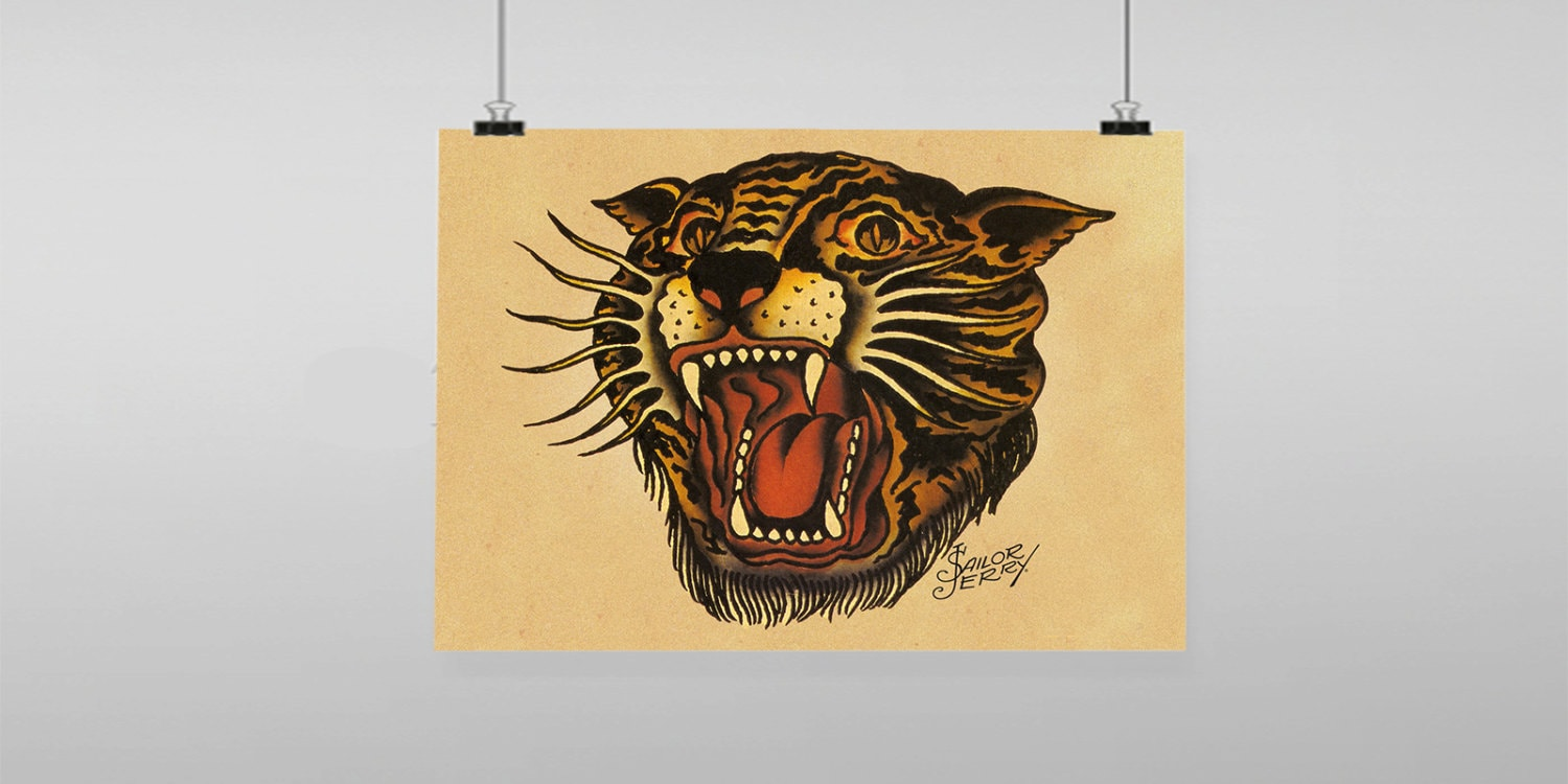 Tiger Tattoo Sailor Jerry Vintage Reproduction Wall Art