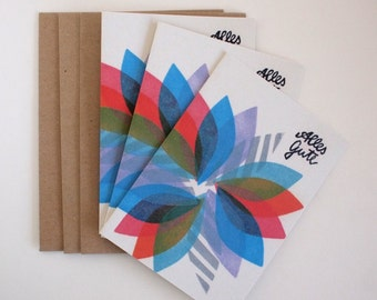 3 Grußkarten - Alles Gute - mit Kuverts - 100% Recyclingpapier
