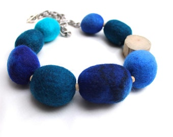 Navy Blue Statement Necklace / Nautical Jewelry / Asymmetrical Huge Felt Baller / Driftwood Felted Ball / Dark Blue Aqua Sea Beach Fashion