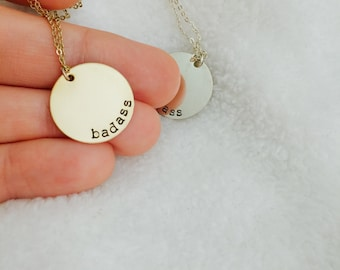 Badass Coin Charm Necklace / bad ass bad bad jewelry gold and silver