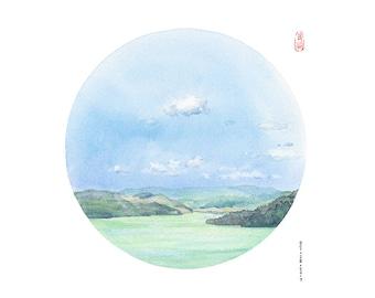 D188 Kal Lake Watercolor Painting,watercolor print, peaceful landscape painting,Canada art,zen art,circle art,lake painting,Okanagan art