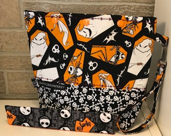 Nightmare before Christmas  inspired snap top project bag with flat bottom and knitting needle cozy - ready to ship