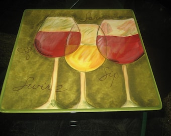 "Susan Winget 9"" Three Glasses of Wine Square Plate"
