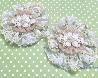 Shabby Chic Handmade Flower, Lace Rosette, Mixed Media Embellishment, Package Topper, Head Band, Brooch, Medallion, Hat Bow, Journal Cover