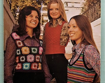 Vintage Knitting Crochet Pattern 1970s Women's Cropped Tank Tops Striped Granny Squares 70s original pattern Sunbeam Wools Aran and DK