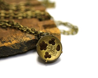"Antique Flower Necklace, Victorian Floral Jewelry, Button Charm, 1800s Gold Keepsake, Gift Heirloom - ""Everlasting Rose"""