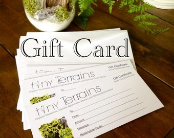 Gift Certificate: Mailed or Emailed in 24 hrs, Moss Terrarium kits, Marimo Terrariums,  Any Amount, Last Minute Gift Card