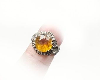 petite sterling ring with amber colored faceted stone size 2