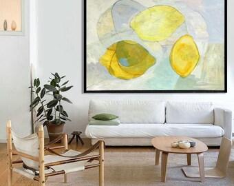 "LARGE FORMAT PAINTING, Lemons, Original art, Food Art, Lemon Painting 39"" x 55"""