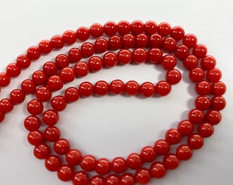 Genuine top dark red italian coral approximate -+ 18 inches 4-5 mm