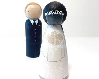 Wedding Cake Toppers / Bride and Groom / Military Wedding / Peg Doll