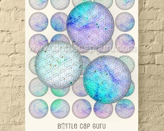 Lavender Cyan FLOWER OF LIFE / 1.5 Inch Digital Collage Sheet / Round Printable Sacred Geometry Images for Jewelry & Crafts // Download