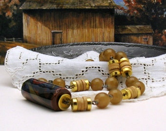Vintage Multicolor and Gold Beaded Retro Neutral Necklace  For Her Under 40   Free Gift Wrap
