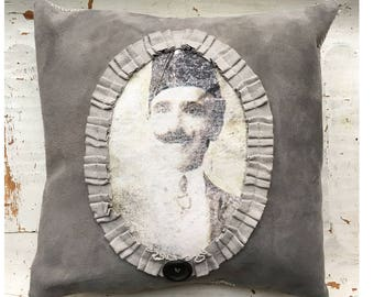 1920's Man Suede Portrait Pillow. Cottage Style Pillow.