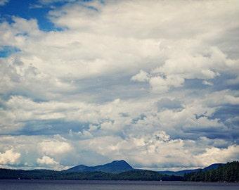 Landscape Photography nature mountains clouds photograph wall art home decor blue green white photo fine art print summer men dude man