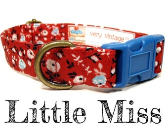 "Vintage Dog Collar - Floral Roses Dog Collar - Girl Dog Collar - Shabby Chic Dog Collar - Antique Metal Hardware - ""Little Miss"""