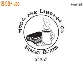 Mothers Day Sale Custom Bookplate Ex Libris Coffee Cookies and a Book Rubber Stamp A03