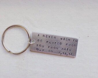 Never Wish To Be Parted Pride and Prejudice/ Jane Austen Keychain Couple Keychain