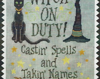Witch on Duty by Waxing Moon Counted Cross Stitch Pattern/Chart