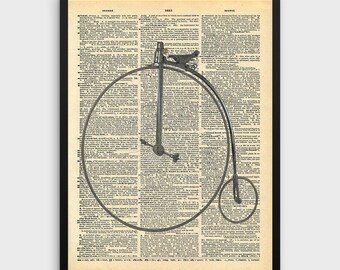 Victorian High Wheel Bicycle Print | Dictionary Art, Dictionary Print, Dictionary Art, Bike Print, Vintage Bicycle Art, Bicycle Wall Art