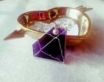 Purple diamond necklace - geometric - pendant - glass - gift - gemstone - bling