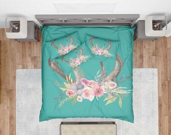 Antlers With Flowers Duvet Cover , Deer Duvet , Bedding , Bedroom Decor , Dorm Bedding , Bedroom Decor , Housewares , Black And White