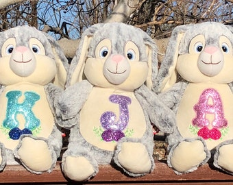 Personalized Grey Easter Bunny/Cubbie/Baby Keepsake/Baby Birth Announcement/Monogrammed Bunny