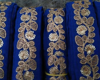 Cobalt blue trim embroidered 3.2 cm