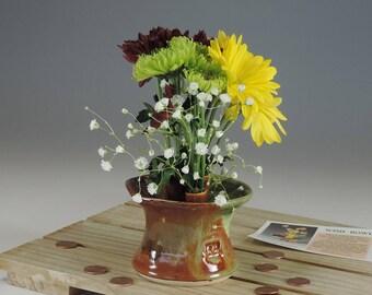 Ikebana Wish Bowl  brown/green glaze