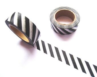 Black and White Diagonal Washi Tape - Planner Washi Tape - Black White Diagonal Stripe - 10 mt - Black White Diagonal Planner Washi Tape