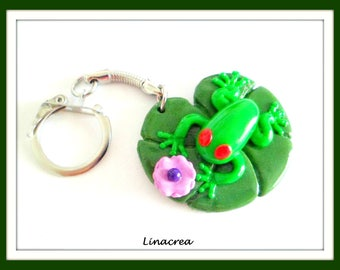 Frog on his Lily pad in polymer clay keychain