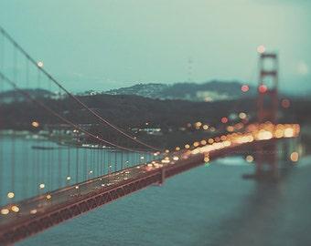 San Francisco photography, Golden Gate bridge at night photo, bokeh photograph, city lights, dreamy California romantic, architecture, blue