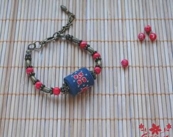 Bohemian bracelet hand embroidery statement bracelet gift for women bohemian jewelry serpentine bead bracelet gemstone jewelry gift for her